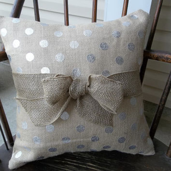 "17"" Printed burlap pillow  Natural Color and Silver Polka Dot, burlap home decor, burlap home decor"