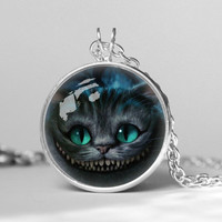 alice in wonderland cheshire cat library books pendent necklace, gift girlfriend boyfriend gift