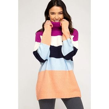 Colby Colorful Striped Turtleneck Tunic Sweater