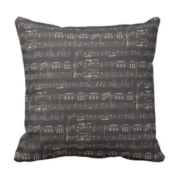 """Music Note Decorative Throw Pillow 16"""" x 16"""""""