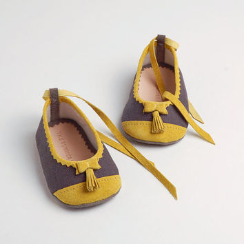 Linen and leather baby ballerina shoes by thesummerhouseshop