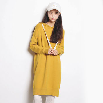 Long Sleeve Korean Women's Fashion Loose Knit Tops One Piece Dress [6466181828]