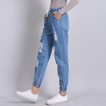 Yichaoyiliang 2017 New Ripped Boyfriend Jeans Woman Loose Casual Denim Pants High Waist Jeans Femme Distressed Harem Pants