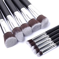 10 pcs Synthetic Kabuki Makeup Brush Set Cosmetics Foundation blending blush makeup tool
