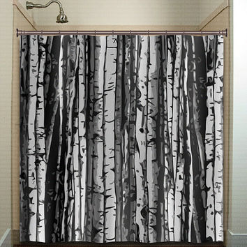 forest wood trunk gray birch tree shower curtain bathroom decor fabric kids bath white black custom duvet cover rug mat window