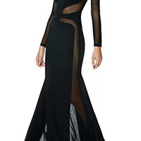 Black Sheer Mesh Panel Long Sleeve Maxi Dress