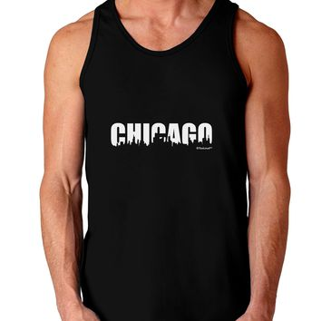 Chicago Skyline Cutout Dark Loose Tank Top  by TooLoud