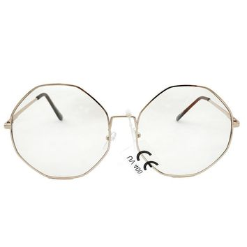 Clear Light Tint Octagon Sunglasses with Gold Frame