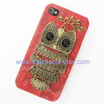 Owl with Brass Branch Hard Case Cover for iPhone 4 by touchsoul