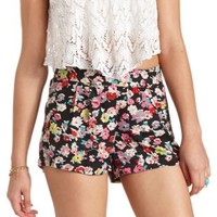 Pleated Floral Print High-Waisted Shorts - Black Combo