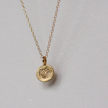 Lotus Necklace, Gold Lotus Round Disc Necklace, Lotus Charm, Lotus Pendant,Buddhist necklace