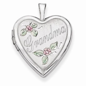 14k White Gold 20MM Flowers Grandma Heart Locket