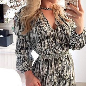 Printed V Neck Long Sleeve Dress
