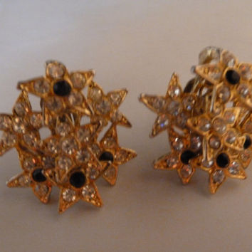 Vintage star rhinestone blue saphire dangle gold earrings costume jewelry patriotic summer July