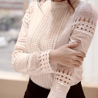 S-XXL New Fashion Spring Autumn Women blouses Cutout long-sleeve Shirt White Shirt OL Work Wear Women Lace Blouse Tops
