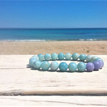 Aquamarine bracelet, Throat chakra bracelet, March birthstone bracelet, healing crystals and stones, mala beads yoga bracelet woman man