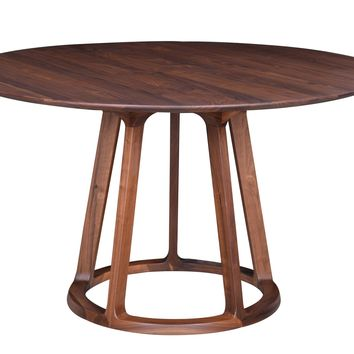 Aldo Round Dining Table Walnut Wood by Moes Home Collection