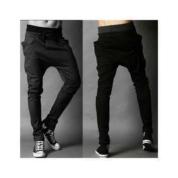 Men Boys Haren Pants Low Crotch Pants Loose Sport Trousers Hip-hop Pants Sweatpants (size 28/29/30/31/32/33/34/35) [9210702019]