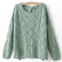 Round Neck Green knitted long sleeve hollow pullover   style zz10080702 in