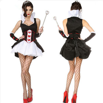 2016 new Sleevelss the queen of red heart costume black and white sexy poker cosplay party dress halloween costumes for women