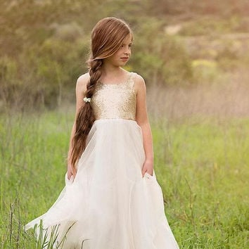 2016 Pageant Dresses Gold Sequined Flower Girls Dresses Flower Communion Dress Girl Pageant Gowns
