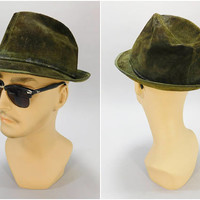 1960's Vintage Fedora / Hush Puppies Casual Headwear / Green Suede / Brushed Pigskin / Size 7-1/8 / Red Liner / Leather Hat / Mad Men Style
