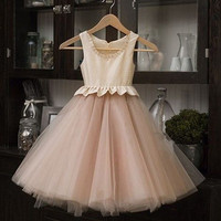 2016 New Real Flower Girl Dresses  Tutu Party Communion Pageant Dress for Wedding Little Girls Kids/Children Dress DS844