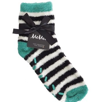 Colorblock Fuzzy Sock w/Aloe