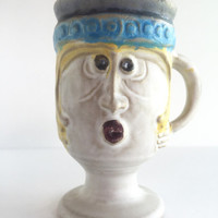 Bennett Welsh for Pacific Stoneware c1971 Woman Face Mug, Vintage Signed Bennett Welsh Face Mug for Pacific Stoneware Inc.