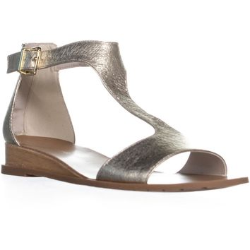 Kenneth Cole 7 Judd T Strapp Flat Sandals, Soft Gold, 10 US / 41 EU