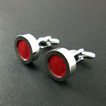 Mens red linen cuff links - 12th or 4th anniversary gift – scarlet groom or groomsmen wedding cufflinks present – mans accessories