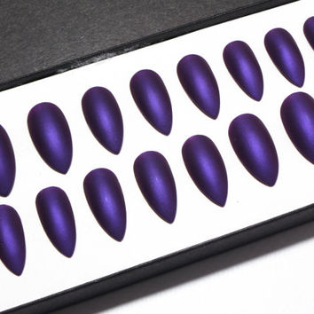 Stiletto Glue On Nails - Painted Acrylic Nails - Matte Stick On Nails - Pointy Purple Nails - Matt Fake Nails - Dark False Nails