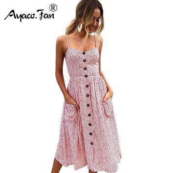 Sexy V Neck Backless Floral Print Summer Beach Dress Women Boho Striped Button Dots Daisy Party Midi Dresses 11 Types