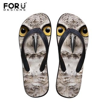 FORUDESIGNS Cool 3D Animal Owl Prints Men Flip Flops Summer House Slippers for Man Male Non-slip Beach Sandals Rubber Flats Shoe