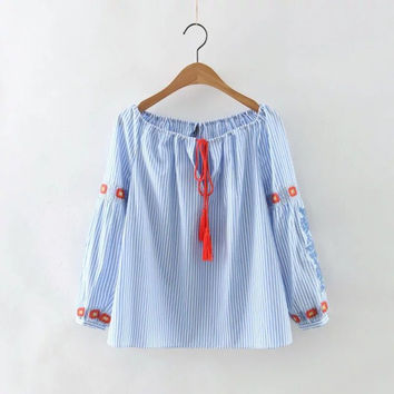 Cotton Stripes Embroidery Long Sleeve Shirt [6332331588]