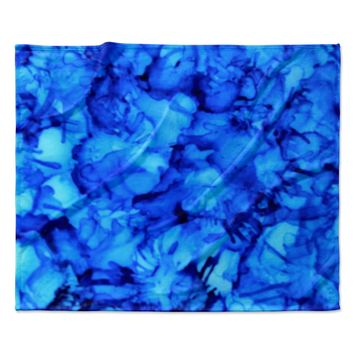 "Claire Day ""Blue"" Aqua Fleece Throw Blanket"