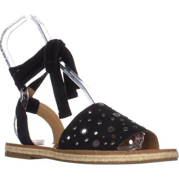 Lucky Brand Daytah Lace Up Mule Flat Sandals, Black, 8 US / 38 EU