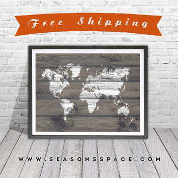 World Map Rustic Wood  Art Print - Travel Decor art - Rustic Art Decor, Travel nursery, World Map on Wood Grain, Rustic Wall Art, Silhouette