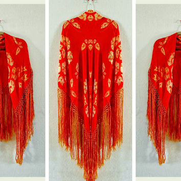Vintage Japanese | Orange | Shibori | with Fringe | Shawl | Table Cloth | 36 x 36 | Stevie Nick's Shawl | Boho Decor | Boho Home | Square