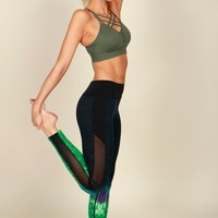 Different Galaxies Print Legging Green