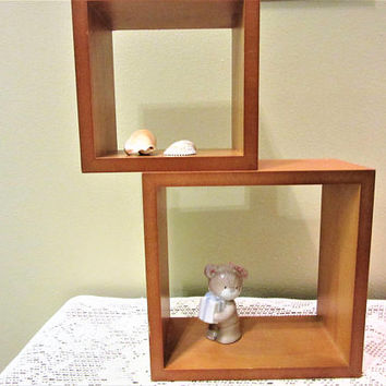 Shelf Wood Floating Window Box Wall Decor Hanging  Set of 2 Open back Vintage blm