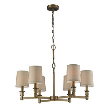 31266/6 Baxter 6 Light Chandelier In Brushed Antique Brass - Free Shipping!