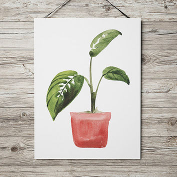 Potted plant poster Botanical art Watercolor print Flower print ACW641