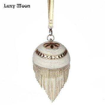 2017 Gold Tassel Clutch Bag Fashion Silver Women Evening Bags Beaded Luxury Ladies Handbags Pearls Vintage Evening clutch Purse