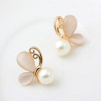 Fashion Gold Opal Earrings for Women 2017 Simulated Pearl Jewerly Butterfly Stud Boucle d'oreille Christmas Gifts Brincos