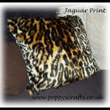 Soft Jaguar animal print like leopard Faux fur fluffy fuzzy furry Cushion 16 x 16 Inches ideal for car home or pet