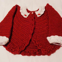 Crocheted Infant Bolero Sweater w Lace Collar Cuffs Autumn Red