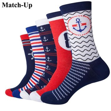 Match-Up  Navy Style Anchor Combed Cotton funny  Lovers socks Two Size   (5 pairs/lot )