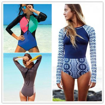 Sexy One Piece Swimwear Print Floral Bathing Surfing Bathing Suit Patchwork Long Sleeve One Piece Swimsuit With Zipper Monokini