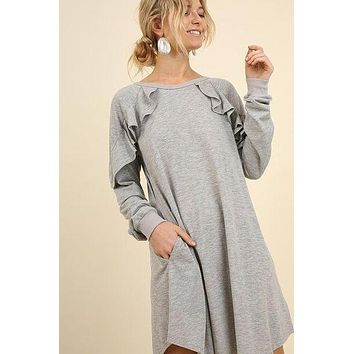 Umgee long sleeve ruffle pocked dress S M L